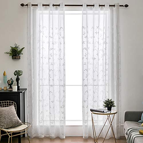 MIULEE Voile Vorhang Blumen Stickerei Vorhänge mit Ösen transparent Gardine 2 Stücke Ösenvorhang Gaze paarig schals Fensterschal für Wohnzimmer Schlafzimmer 225 cm x 140 cm(H x B) 2er-Set