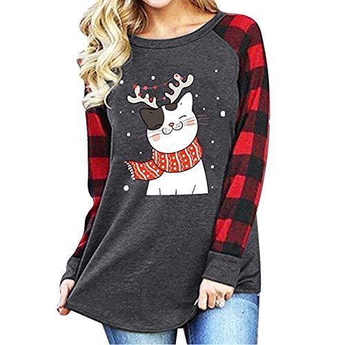 Sudadera de Mujer navideña Blusa con Cuello Redondo Estampado de Gatos Camiseta Holgada Casual de Manga Larga...