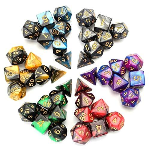 Gute Qualität Polyhedral Dice Doppel-Farbe for Rollen Pliaying Spiel-Würfel-Satz mit Beutel 42 Stk