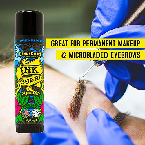 CannaSmack Ink Guard SPF 30 Tattoo Sunscreen & Ink Fade Shield Stick - Protect & Brighten. Prevent Your Tattoos from Fading. Infused with Hemp Seed Oil -Omega3 & 6, Vitamins A, B, D, & E- Cruelty Free