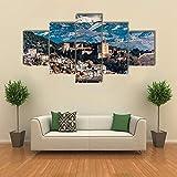 Lienzos Cuadros Pinturas , vista invernal de la alhambra ,5 Piezas Cuadro sobre Lienzo , Cuadros Decoracion ,Decoración Arte De La Pared del Hogar