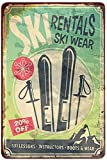 J.DXHYA Tin Poster Metal Sign Ski Rentals,ski Wear Ski Lessons Instructors Boots Vintage S for Cafes Bars Pubs Shop Wall Decorative Funny Retro S for Men Women 8x12 Inch Plaque Signs