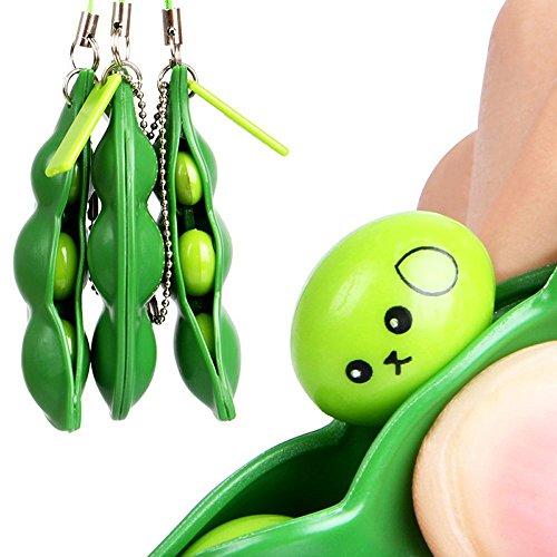 FAMOORE Drücken eine Bohne, 1/3PCS Böhnchen Anhänger Sojabohne Schlüsselanhänger Zappeln Spielzeug für Schlüssel Anti-Stress Entlastende (3PCS)