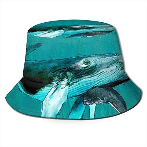 Sombrero de Cubo Transpirable de Parte Superior Plana Unisex Art Ocean Ballena jorobada Sombrero de Cubo Sombrero de Pescador de Verano
