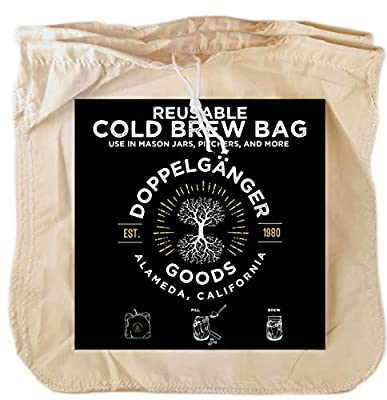 (2-Pack, Large 12in x 12in) Organic Cotton Cold Brew Coffee Bag - Designed in California - Reusable Coffee Filter with EasyOpen Drawstring Cold Brew Maker for Pitchers, Mason Jars, & Toddy Systems