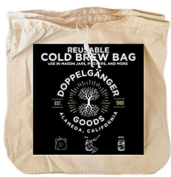 2-Pack  Organic Cotton Cold Brew Coffee Bag - Designed in California - Reusable Coffee Filter with EasyOpen Drawstring Cold Brew Maker for Pitchers Mason Jars & Toddy Systems  Large 12  x 12