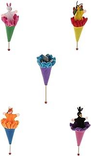 SM SunniMix 5X Juguete de Muñecas de Palo de Madera Marionetas de Conejo/Zorro/Abeja de Dibujos Animados Juego de Diversión para Bebés Niños