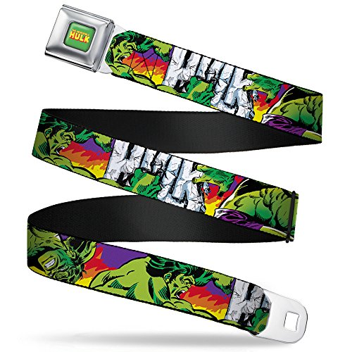 Buckle-Down Gürtel Marvel Comics The Full Color Seatbelt Belt Stomping/Punching Hulk Purple/Red/Orange/Yellow X-Large Webbing, Mehrfarbig, 4 cm Breit-81/132 cm Länge