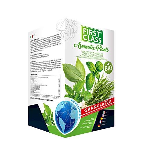 Firstclass Concime Fertilizzante Granulare BIO Specifico per Piante Aromatiche | Esalta l'Aroma delle Piante | Sviluppo Rigoglioso | Resa Elevata | Offerta Barattolo Richiudibile da 2 kg