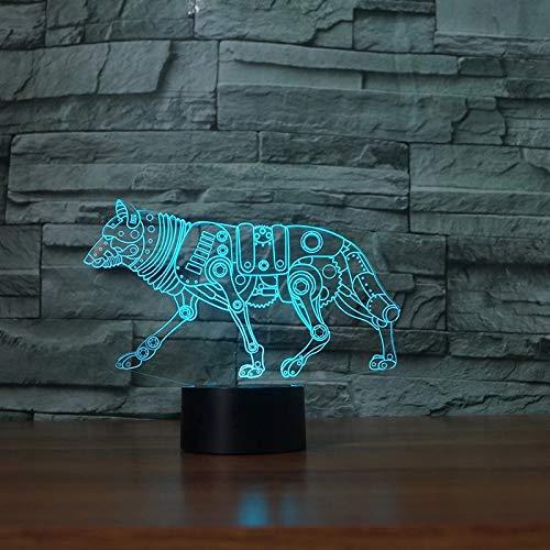 Robot creativo Lobo Acrílico Lámpara de mesa multicolor 3D Animal LED Luz de noche Acrílico USB Decoración Regalo