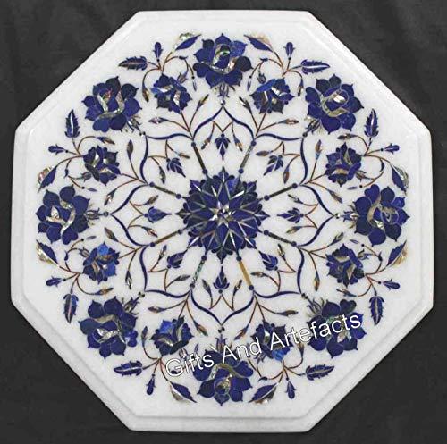 Mesa auxiliar de mármol blanco de 35,5 x 35,5 cm con incrustaciones de piedra de lapislázuli de Indian Crafts