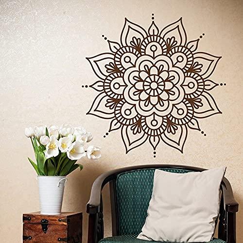 Mandala pared calcomanía dormitorio Yoga pared pegatina patrón marroquí símbolo meditación estilo Boho pegatina Mural A5 57X57CM