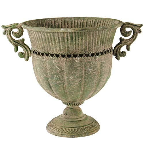 SIDCO Blumentopf Metall Übertopf Schale Pokal XXL Deko Vintage Garten Rost 31 cm
