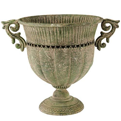 SIDCO Blumentopf Metall Übertopf Schale Pokal XXL Deko Vintage Garten Rost 39 cm