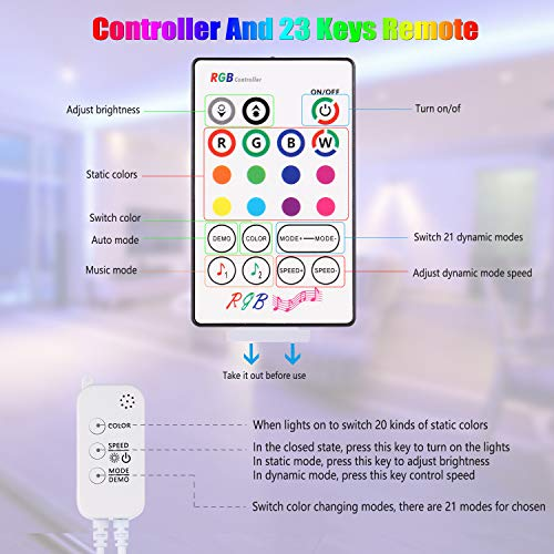 50ft Led Strip Lights, Tenmiro Smart Led Lights Strip Music Sync Color Changing Lights App Control and 23keys Remote, Led Lights for Bedroom Party Home Decoration 6