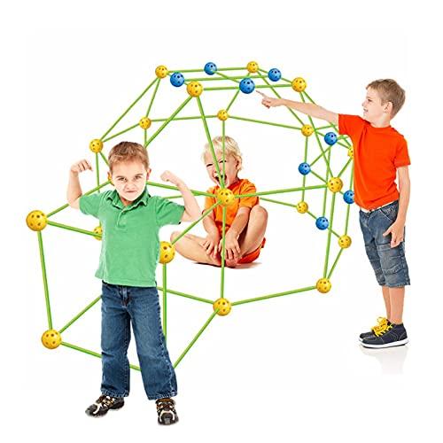 MTAPH Kit de construção de forte para crianças, 155 peças definitivas kits de construção de fortes faça você mesmo construir castelos, túnel de brinquedo, barraca de brincar ao ar livre para brinquedos de construção infantis