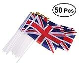 VORCOOL 50pcs Union Jack Hand Wehende Flagge Royal Jubilee UK GB Großbritannien Fahnen Mit Holz Pol, Internationale Länder Welt Fahnen Banner Auf Sticks Für Party Dekorationen