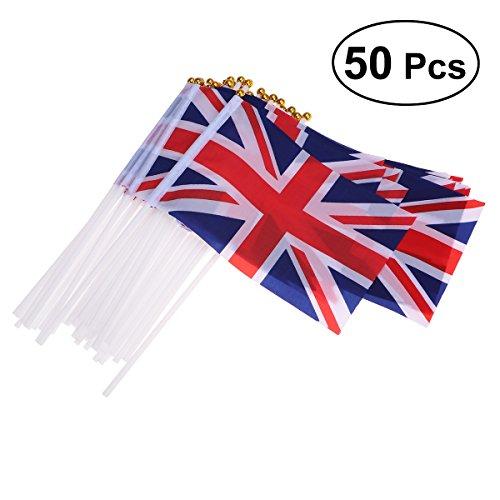 LUOEM Union Jack de Mano Banderas ondeando British Union Jack Flags Royal Jubilee UK GB Banderas de Gran Bretaña (Paquete de 50)