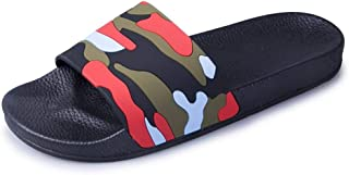 XIMINGJIA-O Casual Male Slippers Indoor Shower PU Leather Sleeve Round Open Toe Flat Slip Camouflage Sugan Men's Leather Shoes, Traditional Classic Design sh