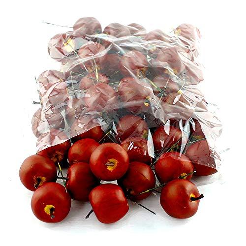 TGG 48 x Deko Äpfel klein 3,5cm, d.-rot/gelb matt, künstlich, SPARPACK