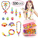 Tomons 530 Pcs Pop Beads, Arts and Crafts for Girls Age 3, 4, 5, 6, 7 Year Old Girls Toys Gifts