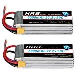 HRB 2packs 6S Lipo 22.2V 6000MAH 50C RC Lipo Battery with XT60 Plug for RC DJI E-Flite Airplane Quadcopter Helicopter Align 7.2 700L Yak 54 T-REX