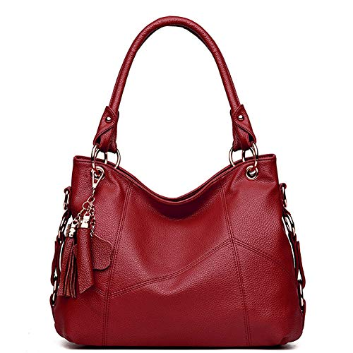 Women's Tote Shoulder Bag Handbag Purses Satchel Shoulder Bags Handle Bag Leather tassel (Claret)
