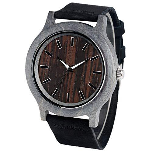 IOMLOP Reloj de Madera Brazalete analógico Moderno Reloj de Madera de bambú Hecho a ManoCorrea de Cuero Mujer Señoras Novedoso Cuarzo Deporte Naturaleza Reloj de Pulsera de Madera, Negro