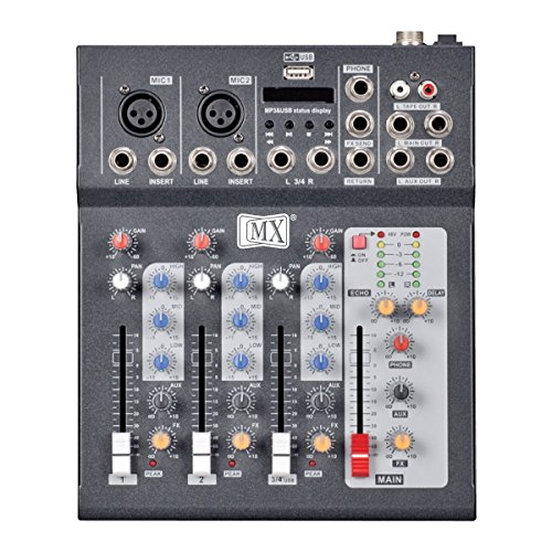 MX Professional 4 Channel Live Mixer with Bluetooth, MP3 Music Player & USB...