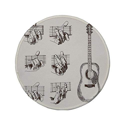 Rutschfreies Gummi-rundes Mauspad Gitarre Instrument im Sketch Art-Stil und Akkorde Akustische Flamenco-Technik Fähigkeit Talent Dekorativ Cremebraun 7.9