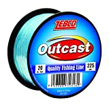Zebco Outcast Monofilament Fishing Line, 225-Yards of 20-Pound Tested Line, Low Memory and Stretch with High Tensile Strength, Blue