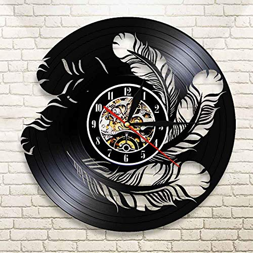 BFMBCHDJ Bird Feather Tribal Record Wall Clock LED Wall Light Bedside Wall Lamp Kid Room Home Decor Ideas Interior Wall Art with LED 12 Inches