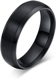 Men's 6mm Matte Brushed Black Titanium Ring