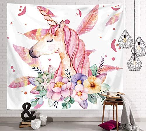 Wandtapijt decoratief Kleurrijke bloemen met eenhoorn zacht polyester Yogamat deken Strandlaken Wanddecoratie Kamer Woonkamer 2 soorten pluis Deken, 150 * 200cm.