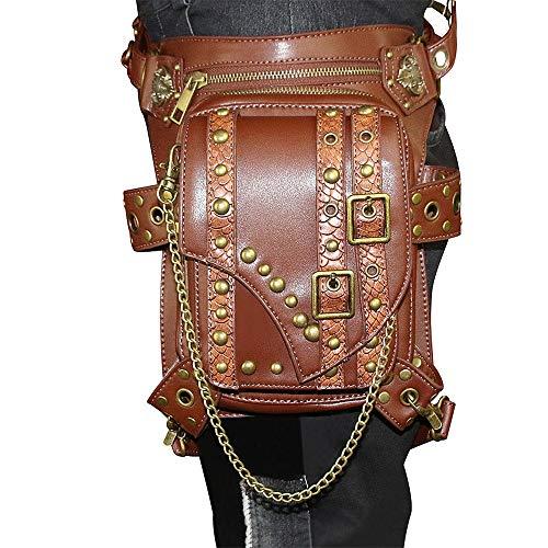 CaoDquan Sac Banane Sacs Steampunk épaule de Taille Packs Chain Rivet Victorian Moto Sacs Leg Holster Pochette de Course (Color : Brown, Size : Free Size)