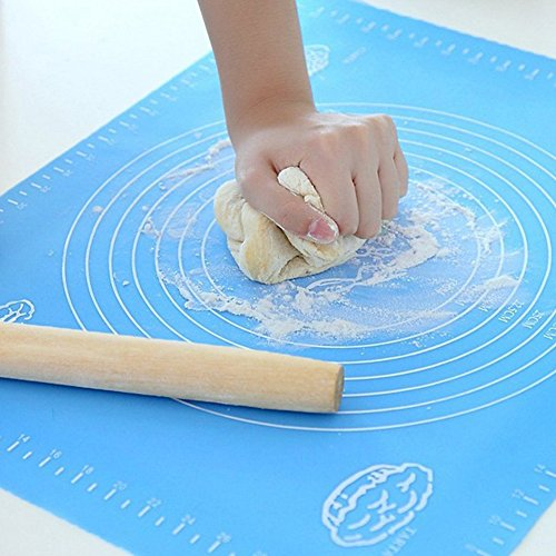(Blue) - Silicone Baking Bakeware Cooking Mat - 40cm x 50cm Extra Large Professional Blue Kitchen Mat with Measuring Guide Pastry Board Reusable Non-Stick Silicone Baking Mat for Pastry Rolling