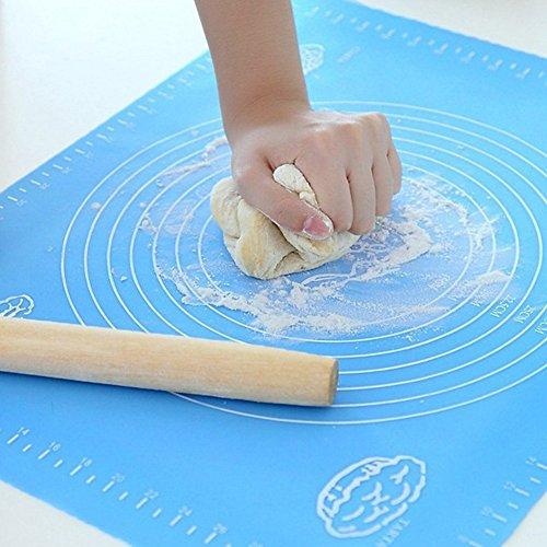 Antihaftende Silikon Backform Kochmatte – 39,9 x 50 cm Extra großer Professionelle Blaue Küchen Matte Mit Messanleitung Pad Nudelbrett wiederverwendbare Antihaft-Silikon-Backmatte für Teig