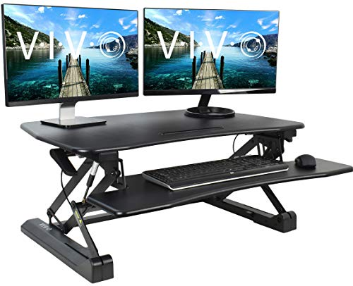 VIVO Black Deluxe Height Adjustable 36 inch Standing Desk Converter | Sit Stand Tabletop Dual...