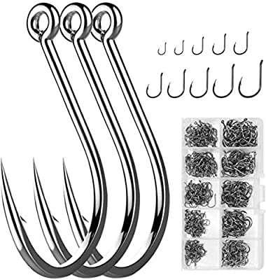 WEONE 500pcs Fishing Hooks,10 Sizes Carbon Steel Fishing Tackle Barbed Carp Fish Hooks with Plastic Box?Silver 3# -12#