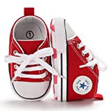 Tutoo Unisex Baby Boys Girls Star High Top Sneaker Soft Anti-Slip Sole Newborn Infant First Walkers Canvas Denim Shoes, A03-red, 12-18 Months Toddler