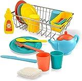 JOYIN 25 Stück Kinderküche Geschirrset, Kinder Geschirr Spielküche, Pfannen und Töpfe Kinderspielgeschirr mit Abtropfkorb