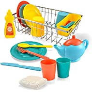 JOYIN Kids Kitchen Pretend Play Dish Wash and Dry Children's Play Dishes Pans and Pots Playset (25 pcs with Drainer)
