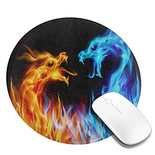Mouse Pad Round for Women Abstract Red Blue Fiery Dragon Mousepad Mini Cute Computer Laptop Mouse Pad Mat Personalized Circle Small Cool Gaming Mouse Pads Kids Girls Boys Non Slip 7.9in