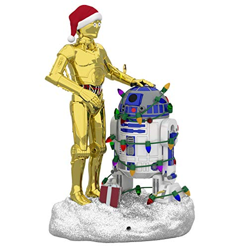 Hallmark Keepsake Christmas 2019 Year Dated Star Wars C-3PO and R2-D2 Peekbuster Motion-Activated Sound Ornament, C3PO and R2D2