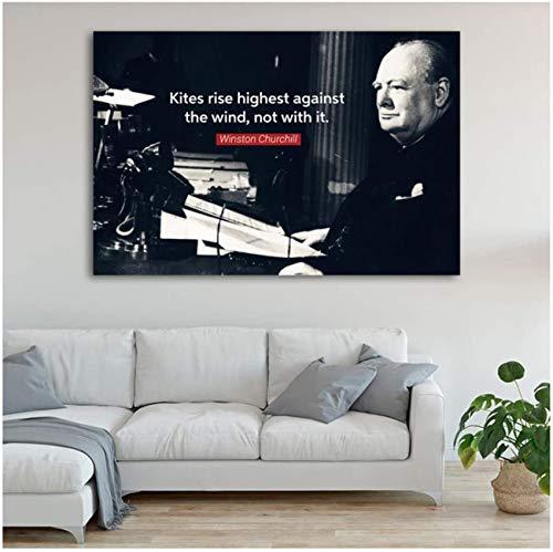 Wandkunst Bild Inspirierend Winston Churchill Wandkunst Poster Leinwand Kunst Drucke und Gemälde für Home Living Room Decoration 50 x 70 cm (kein Rahmen)