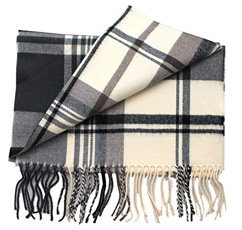 2 PLY 100% Cashmere Scarf Elegant Collection Made in Scotland Wool Solid Plaid (Beige Black JSF)