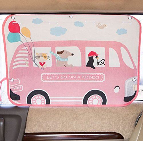 Tokkids - Tendina Parasole laterale per auto, blocca il 99% dei raggi solari, protegge gli occhi e la pelle dei bambini, dimensione regolabile, 70 * 50cm disegno Minibus rosa