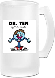 Printed 16oz Frosted Glass Beer Stein Mug Cup - Dr Ten Doctor Who David Tennant Mr Men - Graphic Mug