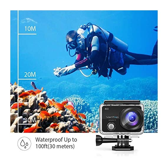 VanTop Moment 3 4K Action Camera w/Gopro Compatible Carrying Case,Remote Control,16MP Sony Sensor,30M Waterproof Camera… 8 【Stunning 4K Technique & Superb Sony Sensor】Optional 4K@30fps, 2.7K@30fps,1080P@60fps,720P@120fps resolutions, high sensitive Sony sensor with improved image focusing, processing speeds. Moment 3 action camera empowers you to capture any memorable moment without any compromise. Stunning 4K video and 16MP photos in Single, Burst and Time Lapse modes. 【Irresistible & Indispensable Accessories】Exclusively customized carrying case for the action camera and accessories: compatible with all Gopro cameras including Gopro HERO 7, Gopro HERO 6. Compact case to keep your action camera-Moment3 and accessories safe, protected and organized. Selected 21 gopro compatible accessories awaits your discovery. (SD Card excluded) 【170°Ultra-Wide Lens & Multiple Modes】Discover a big big world your eyes can reach with the intergraded 170 degrees ultra-wide lens. Burst Shooting, loop recording makes it possible to find the perfect moment afterwards. Time-lapse and slow motion exceed human vision with surprising fun.