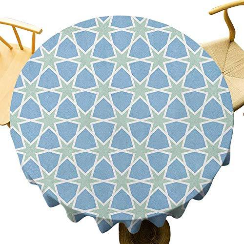 VICWOWONE Mantel marroquí – Mantel redondo de 40 pulgadas, patrón de mosaico repetido esmaltado Zellige figuras de arte estrellas inspiraciones romanas reutilizable verde azul blanco